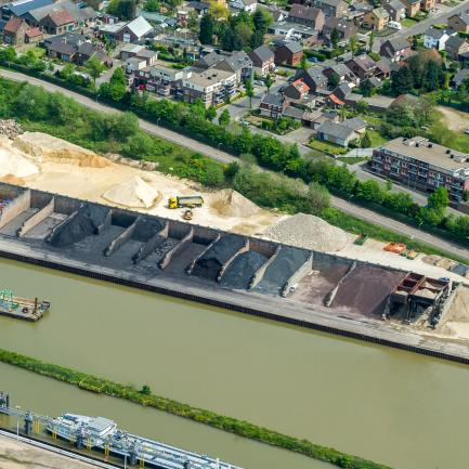 Storage and transport of sand and gravel at harbour Stein, aerial view